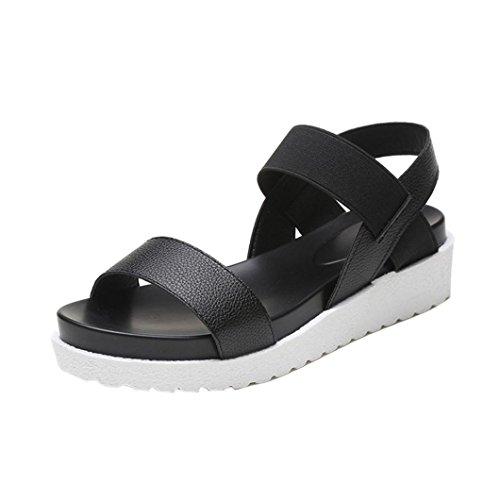 OverDose Frauen Sommer Schuhe Strand Sandalen Rom Aged Leder flache Sandalen Damen Schuhe Schwarz