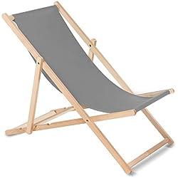 Greenblue Tumbona (gris) hecha de madera de haya, disponible en 12 colores, práctica, cómoda