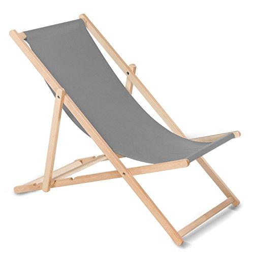 GreenBlue Liegestuhl Sonnenliege Klappbar aus Buchholz ohne Armlehne in 10 Farben Sonnenliege Gartenliege Liege (Grau) (Liegestühle)