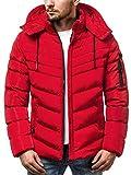 OZONEE Herren Winterjacke Parka Jacke Wärmejacke Wintermantel Coat Kapuze Wärmemantel Modern Täglichen N/5302 ROT M