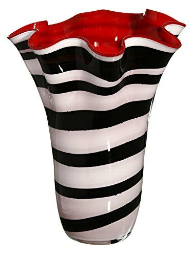 Realizzato a mano, grande fazzoletto vaso vaso di vetro–zebra–bianco, nero, rosso