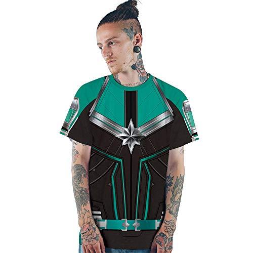 T-Shirts Überraschung Captain Digital Print Paare Rundhals Kurzarm T-Shirt Sport Loose Top XL Grün