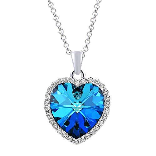 """Swarovski cristalli collana donna veecans """"bella cuore"""" collana con pendente cuore, regalo perfetto per donne e ragazze, prolunga 40 + 5cm"""