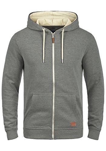 BLEND Hulker Herren Sweatjacke Hoodie Kapuzen-Jacke Zip-Hood aus hochwertiger Baumwollmischung Meliert Pewter Mix (70817)