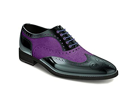 DIS Customized Shoes - Oxford wing brogue - Man, Purple Suede / Black Varnish, 38.5