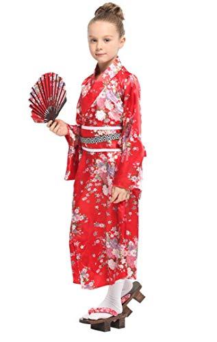 Licus Kinder Mädchen Sakura Kimono-Kleid mit Schärpe Gürtel Party Rollenspiel-Kostüm Gr. Large, rot -