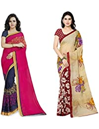 Anand Sarees Faux Georgette Multi Color Printed Combo Saree With Blouse Piece (1190_1_2942_4 )