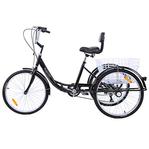 """Ridgeyard 24\"""" 6 Geschwindigkeit 3 Rad Erwachsenen Dreirad Fahrrad Pedal Dreirad Trike Fahrrad mit Shopping Korb (Black)"""