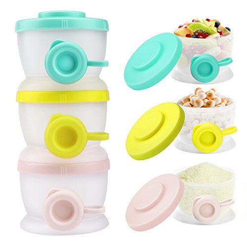 Zooawa Contenitore per Latte in Polvere, [3 Pz] Dosatore per Latte in Polvere in Plastica Dispenser Milk, BPA-Free