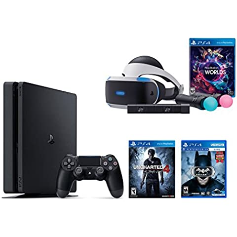 PlayStation VR Launch Bundle 3 Items:VR Launch Bundle,PlayStation 4 Slim 500GB Console - Uncharted 4,VR Game Disc Arkham VR(Versión EE.UU.,