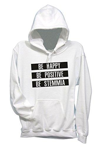 Sweatshirt Be Happy Be Stemmia - LUSTIG by Mush Dress Your Style - Herren-M-Weiß (Happy Halloween-lustiges Meme)