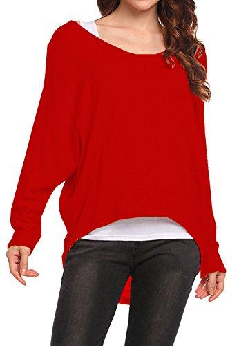 Lymanchi Damen Asymmetrisch Pullover Fledermaus Langarm Oversize Sweatshirt Top Shirt Rot M (Camisole Pullover)