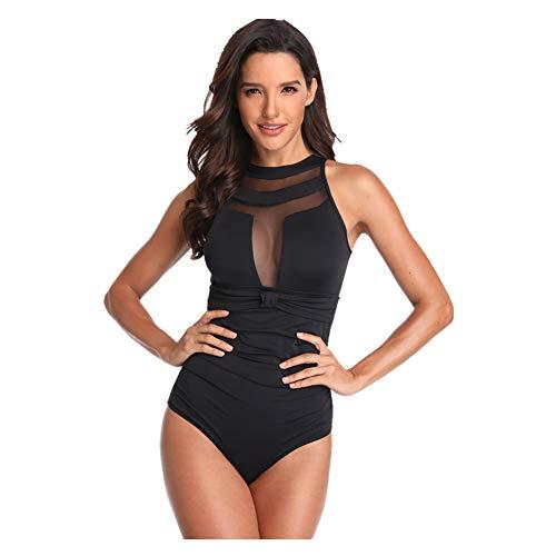teiler Bademode - Retro Vintage High Neck Mesh Gerüscht Gepolstert Bikini Bauch Steuerung Tankini Badeanzug Schwimmen Kostüm ()