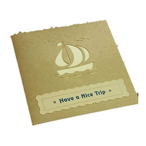 SUNSKYOO Segelschiff Grußkarten Papier 3D Pop Up Laser Cut Handmade Geburtstag Segen Karte Umschlag