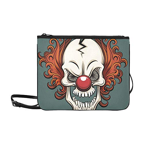 EIJODNL Evil Scary Clown Monster Pattern Benutzerdefinierte hochwertige Nylon Slim Clutch Cross Body Bag Schultertasche (Halloween-gesichter Clown Scary)