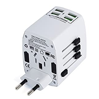 MLPC Accessories Worldwide Universal International Travel Adapter With 4 USB Smart Charging Ports  (White)