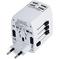Worldwide Universal International Travel Adapter With 4 USB Smart Charging Ports By MLPC Accessories – Premium Rated Universal Travel Adapter. Use for Mobiles, Tablets and Many Other Devices & Appliances. Works in Over 150 Countries Including, USA, Europe, UK, Australia, Asia, South America & Many Others (White)
