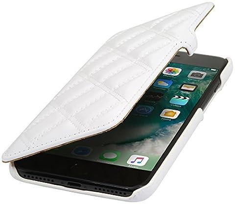 StilGut Book Type avec clip, housse iPhone 8 & iPhone 7 en cuir. Etui de protection à ouverture latérale pour iPhone 8 & iPhone 7 (4.7 pouces), Blanc nappa - collection Carat