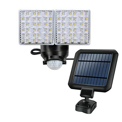 Solarbetriebene Sicherheits-Außenleuchten, 1200LM Superhelle Bewegungssensor Leuchten, 2 Verstellbare Lichtköpfe mit 44 LED-Leuchten für Garten, Hof, Garage usw.