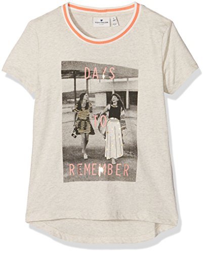 TOM TAILOR Kids photo print shirt with foil, T-shirt Bambina, Beige (Hot Sand Melange), 152