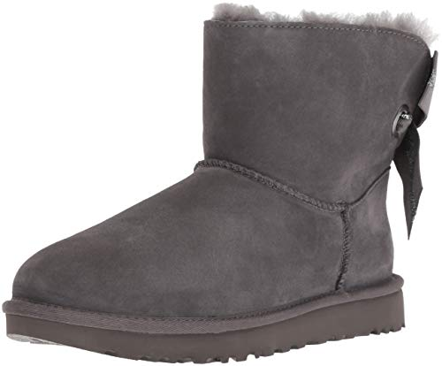UGG Women's W Customizable Bailey Bow Mini Fashion Boot, Charcoal, 5 M US