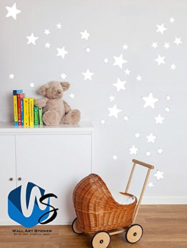 55 Mixed size Stars Wall Stickers Kid Decal Art Nursery Bedroom Vinyl Decoration (White)