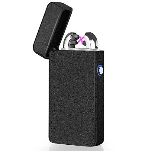 elektronisches Feuerzeug von HBlife USB aufladbar Double-Arc Lichtbogen Feuerzeug mette schwarz
