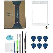 iPad Mini 1/iPad mini 2Panel Frontal táctil digitalizador cristal repuesto Full montaje con chip IC y botón home y Kit de herramientas Blanco (Step by Step instrucciones)