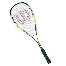 Wilson Hammer Lite BLX-Raqueta de squash - Tamaño de la cabeza: 77.3in2(499cm2); Peso del Marco: 120g (4.2oz); - Equilibrio: 380mm (cabeza pesada); Ancho: 20-18mm; - 'Longitud: 27(686mm); encordado con sensación Strike; - Patrón de encordado: 14x 21;...