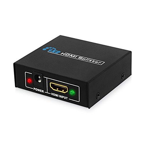 AUTOUTLET HDMI Splitter Aluminium 4K HDMI Verteiler 1 in 2 Out Unterstützt HDCP, 4K, 3D, UHD, 1080P, HDMI Splitter 1 auf 2 für Xbox, PS4, PS3, Roku, Blu-Ray-Player, Firestick, HDTV und Apple TV. (Für 1 Hdmi-kabel Roku)