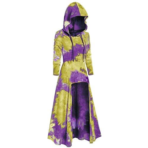 AIFGR Frauen Kostüm, Langes Kapuzenoberteil mit gefärbtem Umhang Umhang mit Kapuze Lange Cape Vampir Kostüm Halloween Erwachsener Unisex Halloween Cosplay -