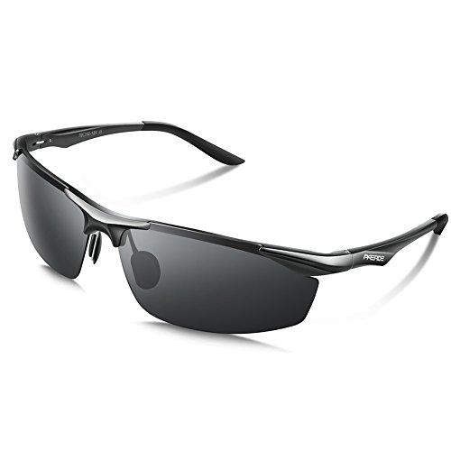 PAERDE Herren Sportbrille Polarisierte Sonnenbrille Fahrerbrille 2206,Schwarz