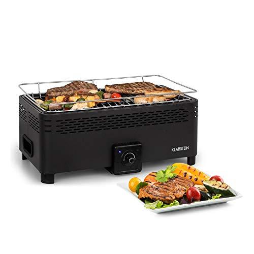 KLARSTEIN Micro-Q 3131 Holzkohlegrill - tragbarer Grill, Camping-Grill, rechteckig, 42 x 23 cm Grillgitter, batteriebetrieben, Tragetasche, schwarz