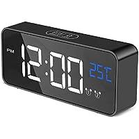 Aitsite Despertador Digital Electrónico Reloj Despertador Alarma Dual,Digital Alarm Clock Inteligente LED Pantalla Temperatura Puerto USB,12/24 Horas, 4 Brillo Ajustable Función Snooze,13 música