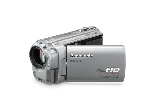 Panasonic HDC-SD10 EG-S Full HD-Camcorder (SD/SDHC-Card, 16-fach opt. Zoom, 6,9 cm (2,7 Zoll) Display) silber