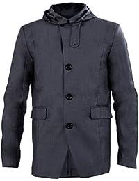 SODIAL(R) Charme Mode Trench Vestes Hommes Mince Fit Simple Boutonnage Manteau a capuchon Casual Gris Fonce Taille M