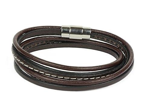 Lederarmband Wickelarmband Herren und Damen Leder Armband braun Größe S bis XL (41) (Männerschmuck Armband)