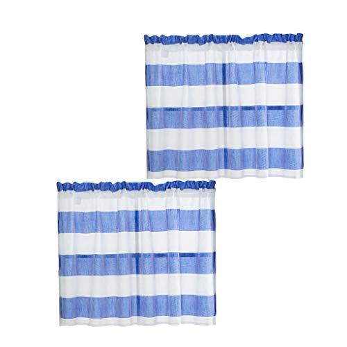 rze Scheibengardine Bistrogardine Fenstervorhang Gardine für Küche Fenster - Blau_ 74 x 60 cm ()