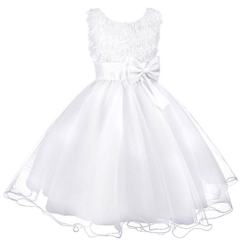 Discoball Girls Flower Dress Formal Wedding Damigella d'onore Party Battesimo Vestito da principessa in pizzo per bambini
