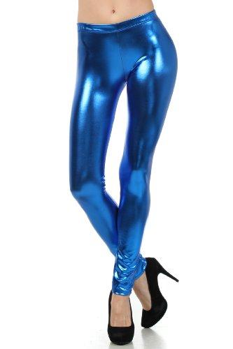 Sakkas Liquid111 Footless Flüssigkeit Wet Look Shiny Metallic Stretch Leggings - Royal Blau/Large (Royal Leggings Blau)