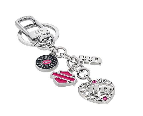 Harley Davidson multi-charm Key Chain clip, bar e Sheild, cuore con cristalli Swarovski di