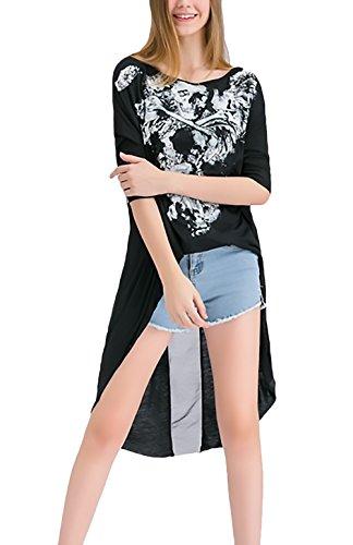 Kurzarm Elegant Rundhals Tops Festlich Baggy Casual Modisch Print Tshirt Totenkopf Bluse Vorne Kurz Hinten Lang Rückenfrei Partei Blusen T-Shirt Beach (Stiefel Mit Totenköpfen)