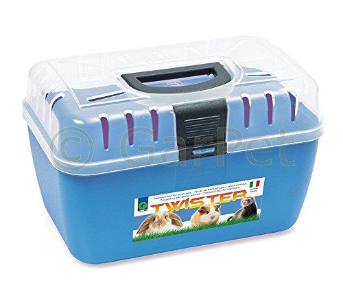 Transportbox Kleintier Nagetier Trage Meerschweinchen Hamster Vogel Mäuse Box (blau)