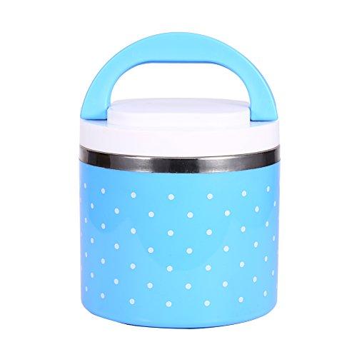 Portapranzo termico portatile in acciaio inossidabile per pranzo isolamento termico di contenitori alimentari con strati ermetici termico (1 strato(600ml), cielo blu)
