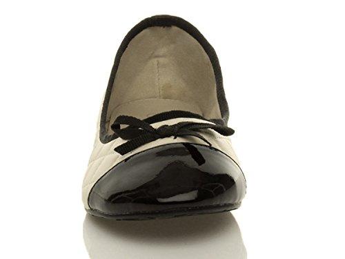 Femmes plat petite talon ballerine matelassée nœud pumps chaussures taille Beige Crème