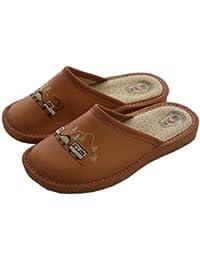 Natleat SlippersSlipper Mules - Sandalias con cuña para chico hombre , color marrón, talla 40 EU