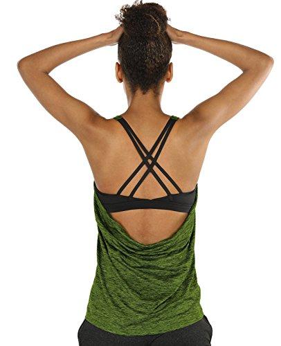 icyZone Damen Sport Shirt X Rücken Tops Fitness Gym Yoga Oberteile mit BH 2 In 1 (Green Heather, M) (Knit Jeans Heather)