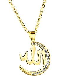b965f69dff0e HIJONES Alloy Allah Collier Pendentif Lune Avec Zircone