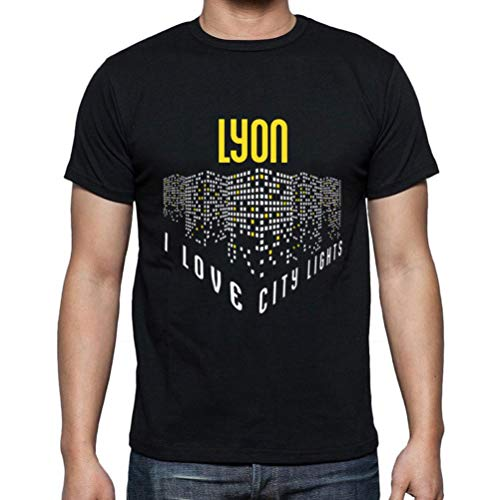 Ultrabasic - Hombre Camiseta Gráfico tee Shirt I Love Lyon Lights