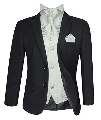 SIRRI Jungen 5 Teile Formell Hochzeit Anzüge, Elfenbein Krawatte Abiball Seite Jungen Anzug - Schwarz & Creme, 152 -